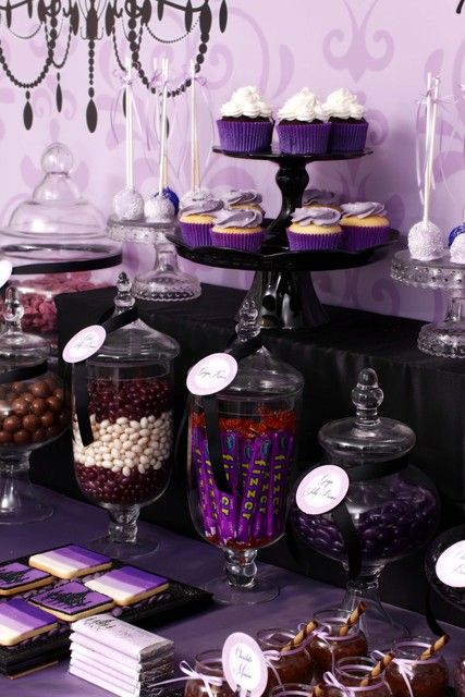 "Chocolate and purple lolly buffet table - idea for a birthday party  Photo 1 of 31: Purple & Black ~ 'Sophisticated Tween' / Birthday ""Ruby's 13th Birthday"" 