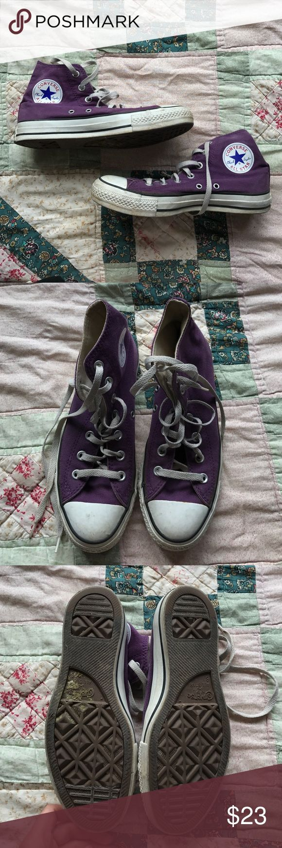 Purple High Top Chuck Taylor Converse These are worn but still have lots of life left in them. Chucks only get better with time :) WOMAN's size 8, MAN's size 6 Converse Shoes Sneakers