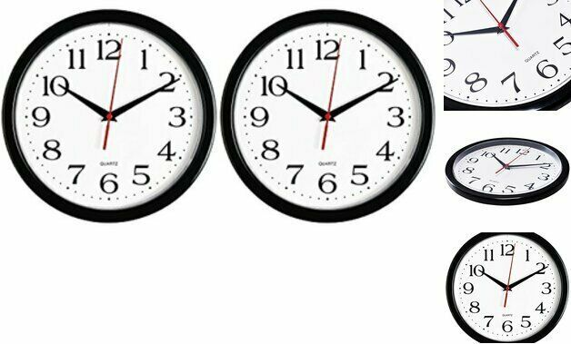 Bernhard Products Black Wall Clocks 2 Pack Silent Non Ticking 10 Inch Quality Wall Clocks Ebay Link In 2020 Black Wall Clock Wall Clock Clock