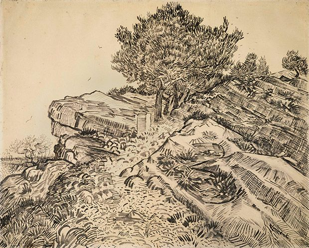 the rock of montmajour with pine trees, 1888, Studies of a Genius: Van Gogh's Drawings at TEFAF | Sotheby's