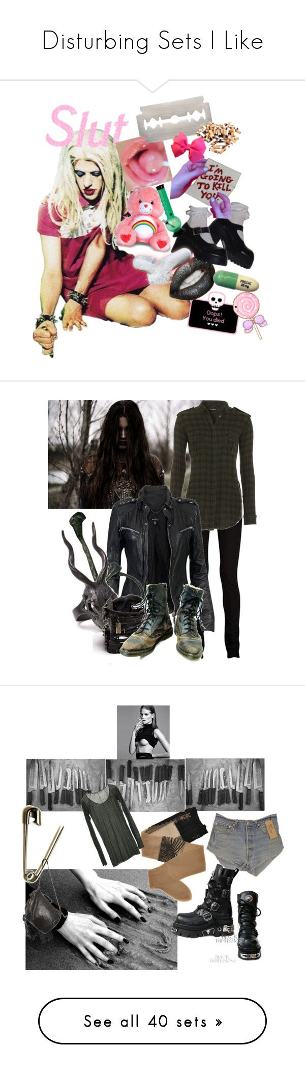 """Disturbing Sets I Like"" by stormbattereddragon ❤ liked on Polyvore featuring art, DRKSHDW, Balmain, MuuBaa, Macha, Lady Grey, LAS Jewelry, Castro NYC, Levi's and Trasparenze"