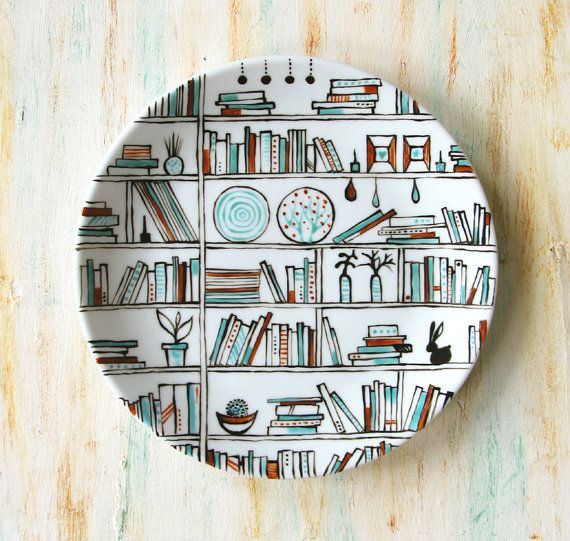 Decorative hand painted porcelain plate Book-A-Holic by roootreee