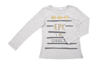 Camiseta para niña, en color gris. Mangas largas y detalles en gris oscuro y dorado al frente.