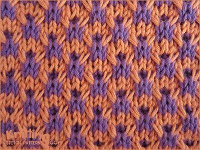 Double Twist Check stitch Pattern - http://www.knittingstitchpatterns.com/2014/10/double-twist-check.html