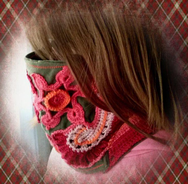 cubrecuello para el frío,tela y crochet de fantasia