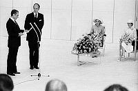 0150277 © Granger - Historical Picture ArchiveLE SHAH D'IRAN AND VALERY GISCARD D'ESTAING.   Official visit of shah of Iran Mohamed Reza Pahlavi and french president Valery Giscard d'Estaing (VGE) during a press conference ; background : empress of Iran Farah Diba Pahlavi and Mrs Anne Aymone Giscard d'Estaing, june 24, 1974. Full credit: AGIP - Rue des Archives / Granger, NYC -- All rights reserved.