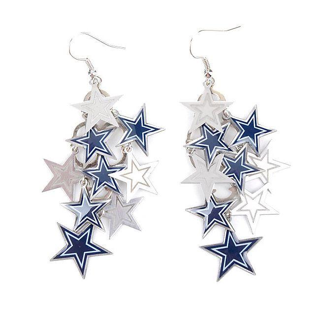 Dallas Cowboys Chandelier Dangler Earring w/ Stars