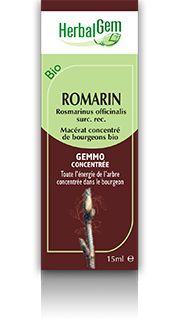 ROMARIN - Plante pionnière des sols dégradés, le romarin est bien connu puisqu'on l'utilise sous plusieurs formes. Le romarin facilite, tant de façon interne qu'externe, les bienfaits sur le ralentissement des signes de vieillesse en piégeant les radicaux libres. Il protège aussi le système hépatique.