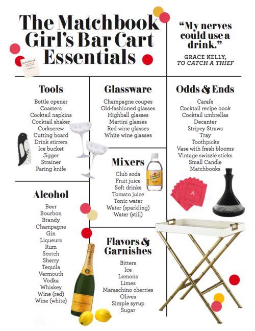 The Matchbook Girl's Bar Cart Essentials