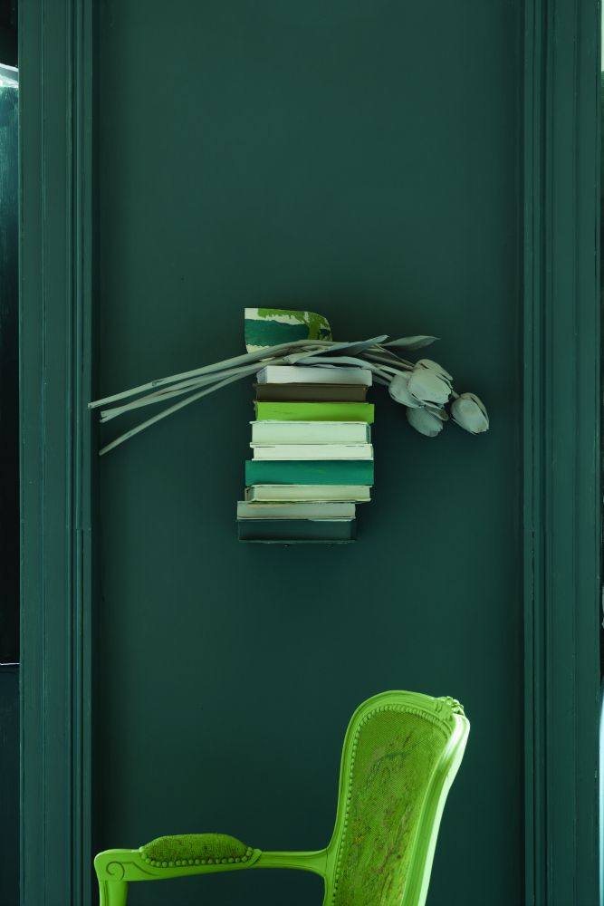 Farrow and Ball's Inchyra Blue is near Benjamin Moore's Yorktown Green hc-133.  Thanks to Laurel Bern Interiors.