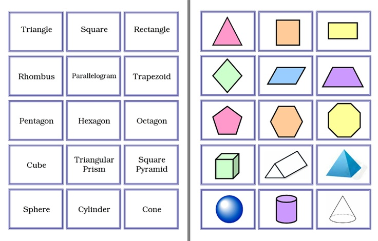 Here's A Set Of Cards To Match 2- And 3-D Shapes With