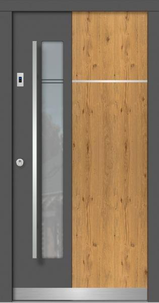 Holz-Haustür Modern Modell M116 zweifarbig, kombiniert mit Holzart Eiche astig