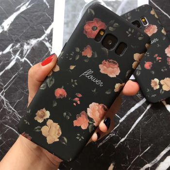 Retro Red Rose Flower Floral Cases For Samsung Galaxy S7 S8 S8Plus Note8 Black Flower Plants Leaves For iphone 6 7 8 Matte Case  Price: 3.61 USD