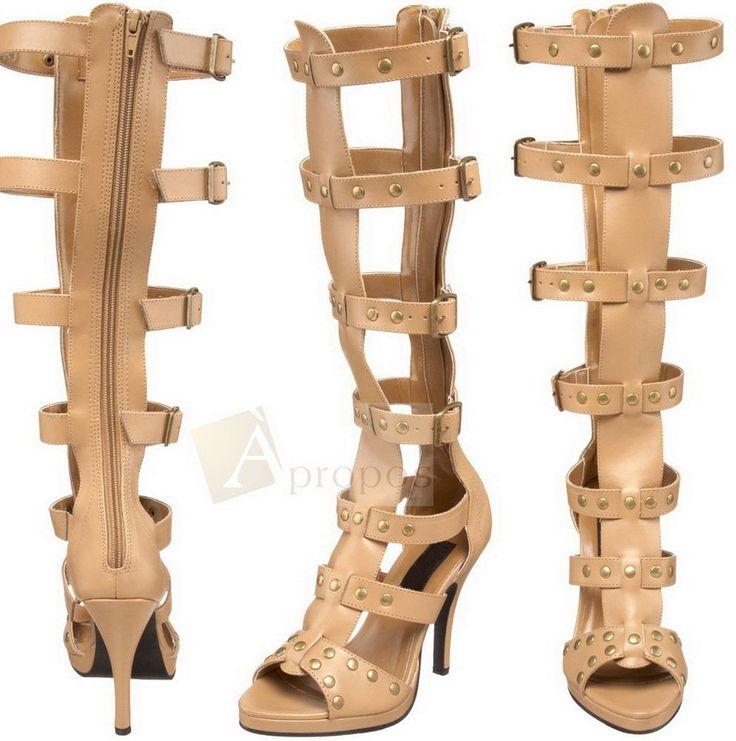 Damenstiefel 9,9cm High Heel Stiletto Nieten Römer Sandale Braun Schwarz Apropos