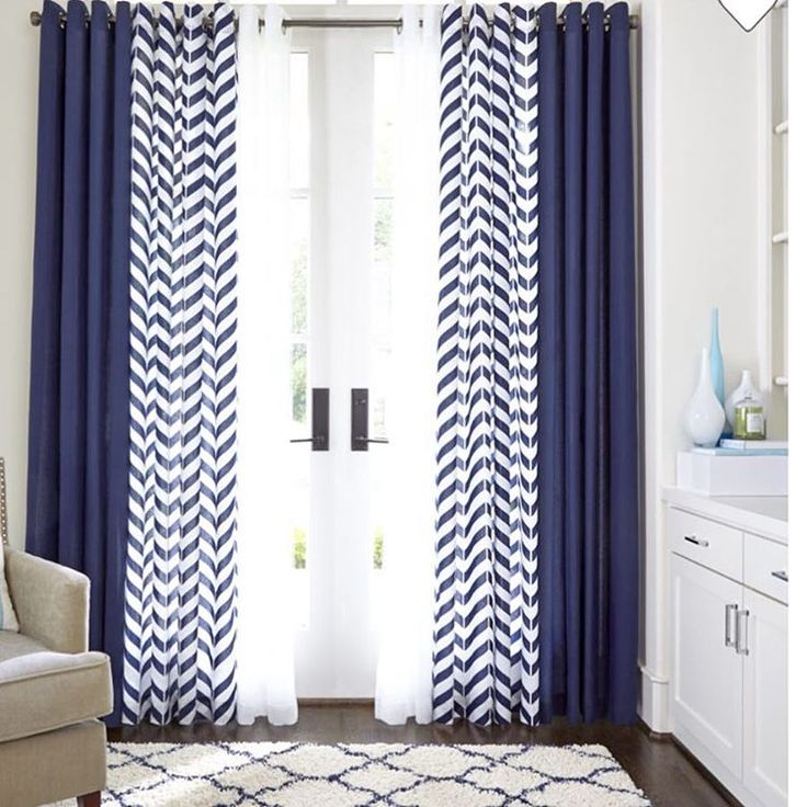White Drapes In Living Room Part - 47: M A T U0026 B R I T T A N I On Instagram: U201cLoving This Triple Curtain U0026 Rug  Combo! Navy And White CurtainsNavy ...