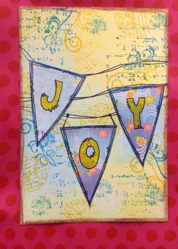 CZC1: slingers. Achtergrond gemaakt van neocolor ii blauw, groen en geel en stempels in blauw en geel. Vlaggetjes en letters zijn van Jofy.