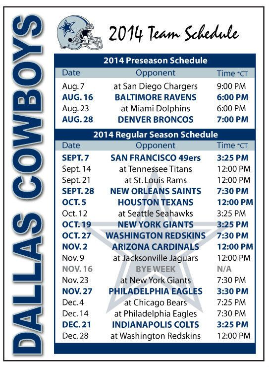 dallas cowboys schedule 2014 - photo #4