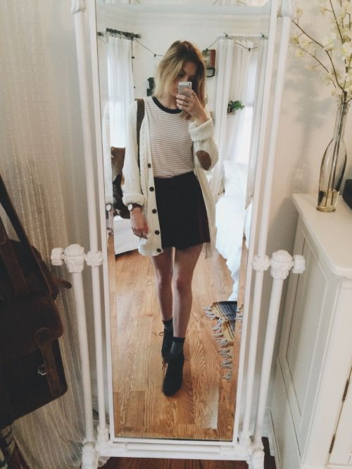 Brandy melville skirt & shirt, f21 cardigan, urban brown lace up shoes have a nice day everyone