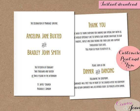Printable Wedding Program Template folded gold by ConnieAndJoan
