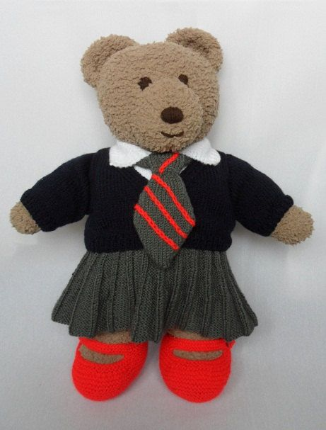 Cuddle and Snuggle Teddy Bear Clothes - School Uniform - knitting pattern DOW...