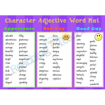 Character Adjective Word Mat