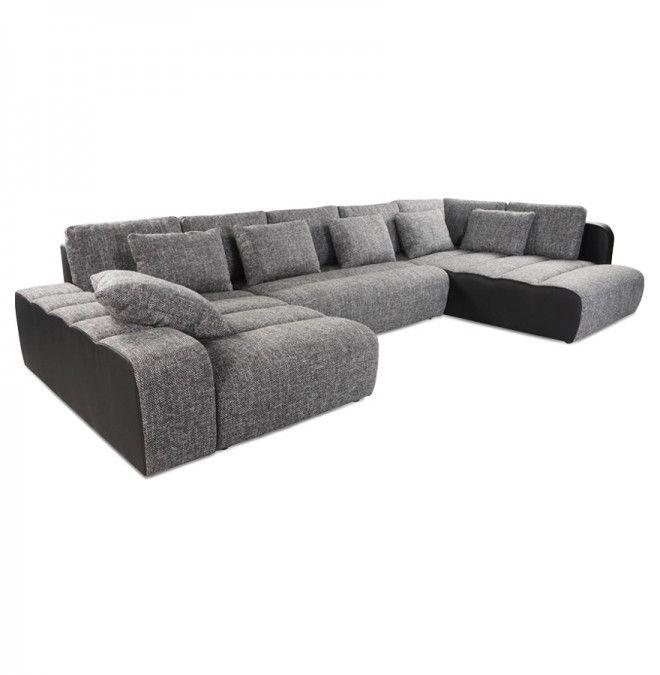 Canapé en U convertible panoramique 'MASTA' noir (tissu chiné), 1700 €