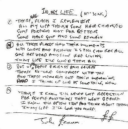 """John Lennon lyrics (handwritten) for """"In My Life"""" I sing this song once a day to my son. In my life, I love him more..."""