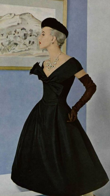 Christian Dior 1955-Black beret, long black gloves, black dress!-KChic. Love the long black gloves.