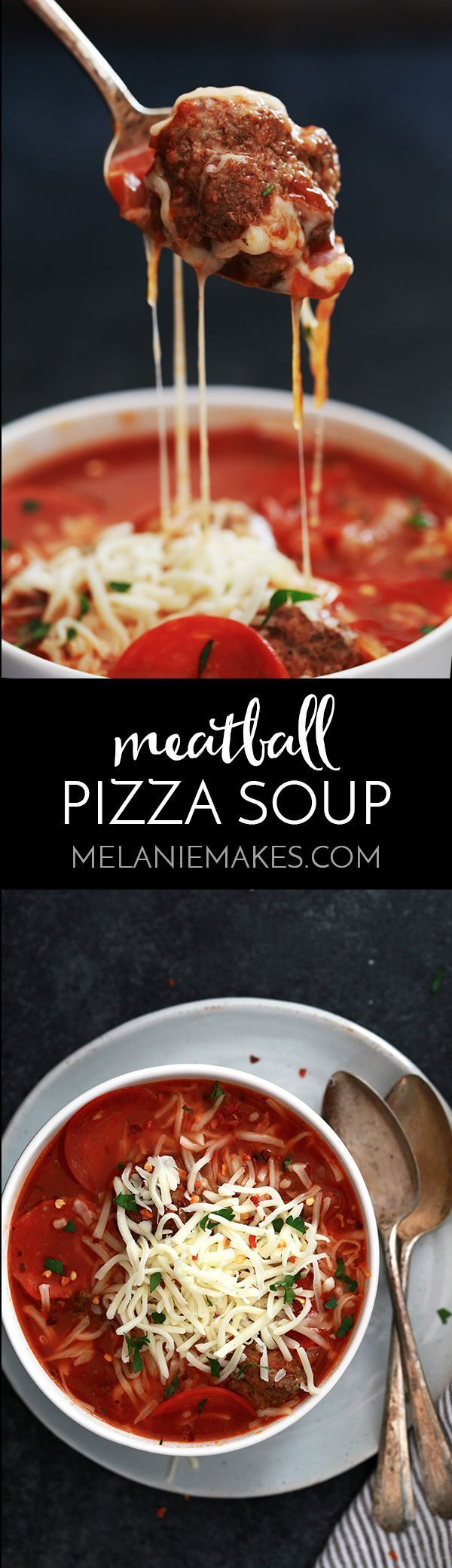 Thanks to a kitchen shortcut, my Meatball Pizza Soup takes just ten minutes to prepare. Meatballs, pepperoni, onions, green peppers and mushrooms come together to create a comforting soup that combines two of your favorite Italian dinners.