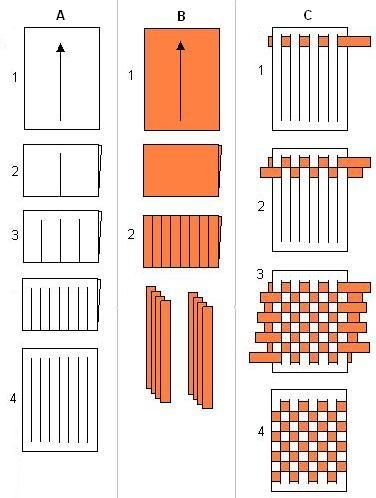 Paper Weaving Patterns | get a piece of white paper and fold it in half cut the folded paper