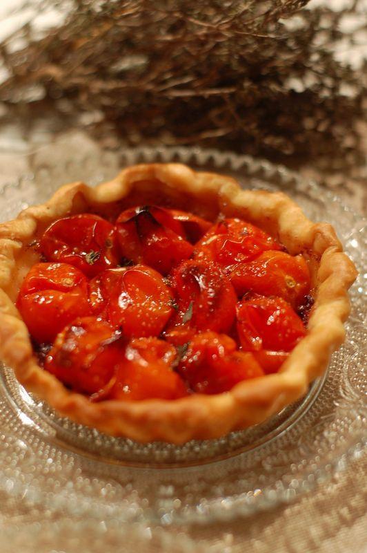 tartelettes aux tomates-cerises confites
