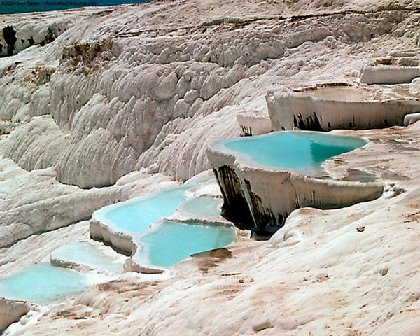 Pamukkale: The Cotton Castle - 8th Wonder of Turkey.  That's not ice.