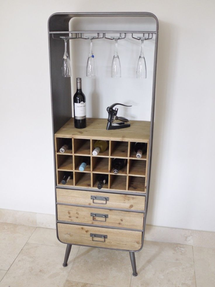 Industrial style wine rack cabinet made from pine and steel. Aged looking distressed tall wine rack very impressive. Holds 15 bottles of wine plus glasses etc. | eBay!