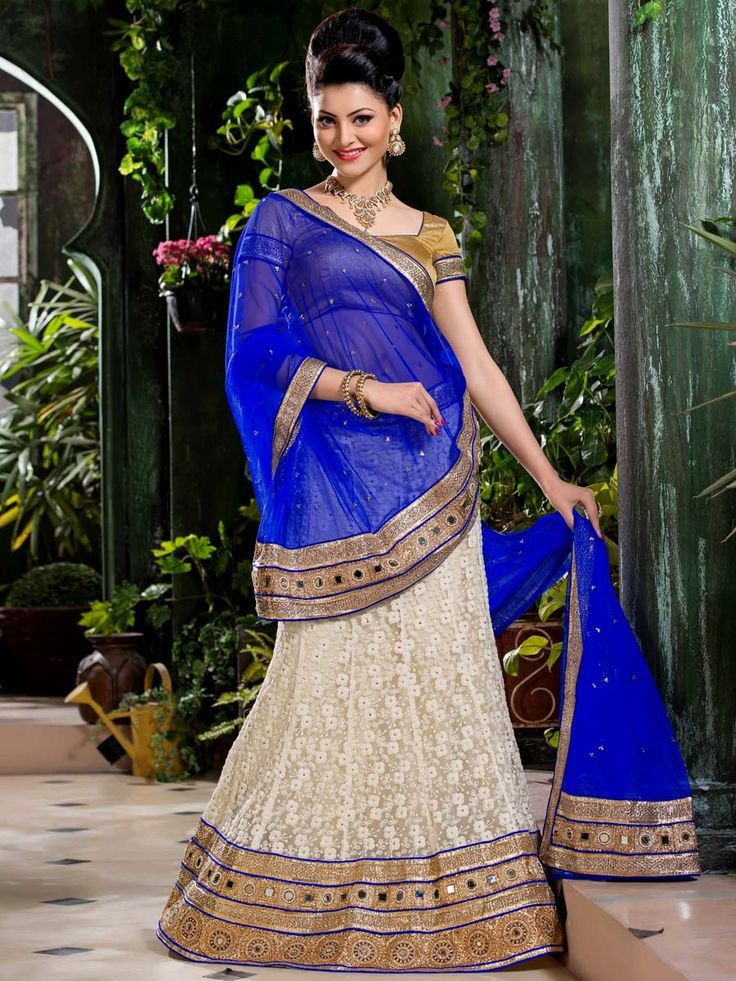Splendid net Lehenga in off white color Resham work. Item Code: GNAL7108 http://www.bharatplaza.com/new-arrivals/lehengas.html