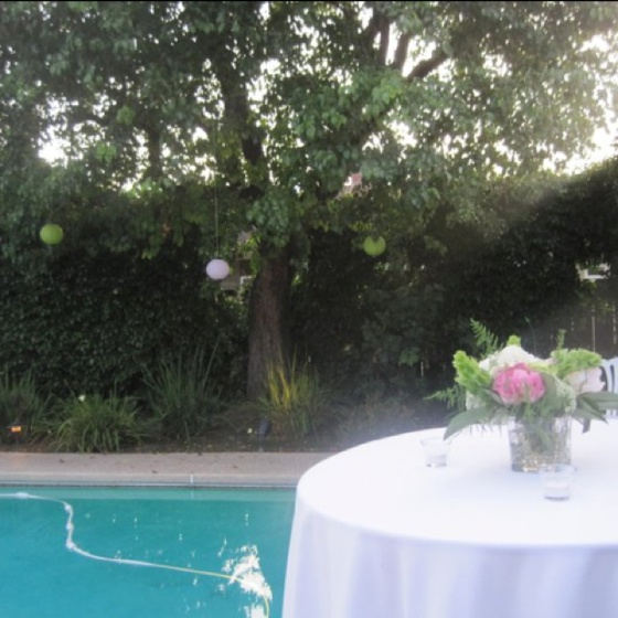 Engagement party decor. Peonies and paper lanterns.