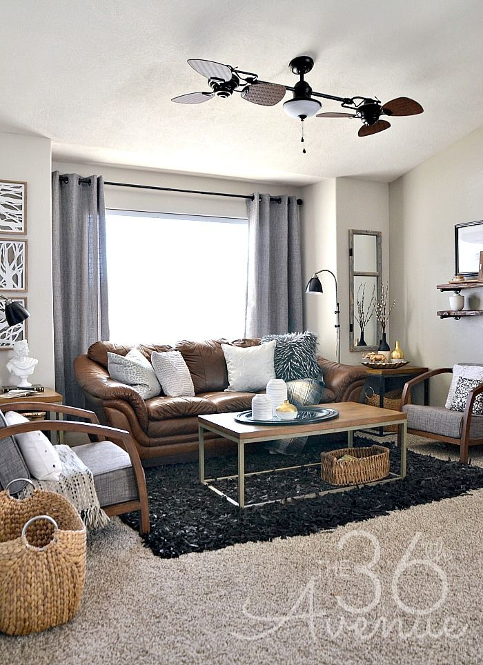Home decor neutral living room industrial for Living room ideas 2 couches