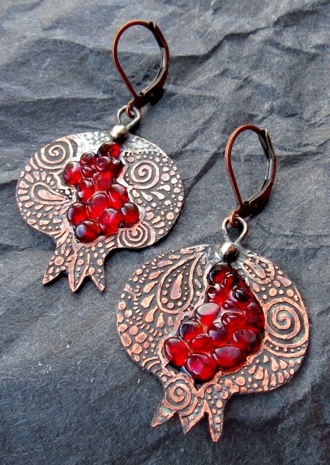 Pomegranate Earrings by spaceweaver on Etsy