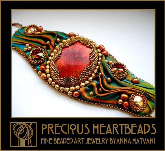 Bead Embroidery Bracelet Cuff 16575 usd with door PreciousHeartBeads