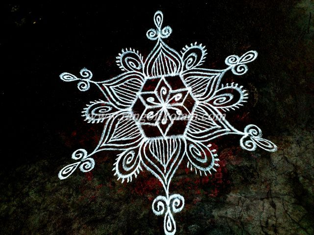 Free hand style  design  daily kolam  on morning  with rice…