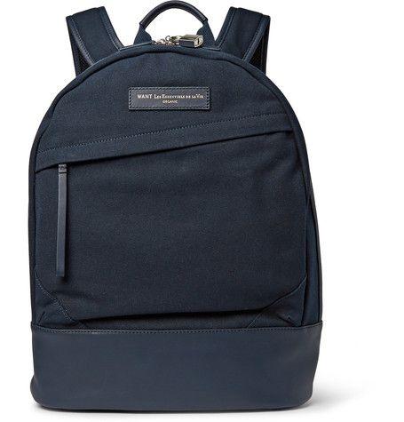 WANT Les Essentiels de la Vie Kastrup Leather-Trimmed Canvas Backpack   MR PORTER