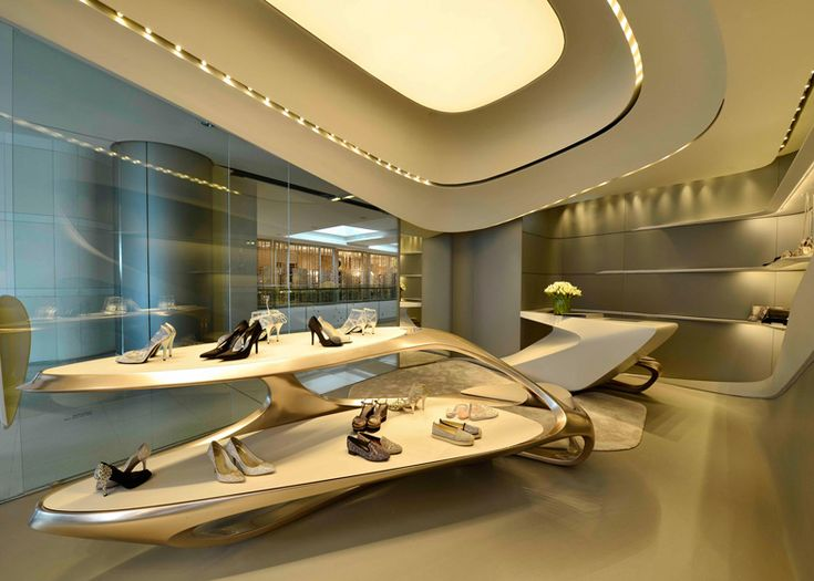 Stuart Weitzman commissioned architect Zaha Hadid to design a series of stores for his shoe label. This second branch is located in Hong Kong's IFC shopping mall.