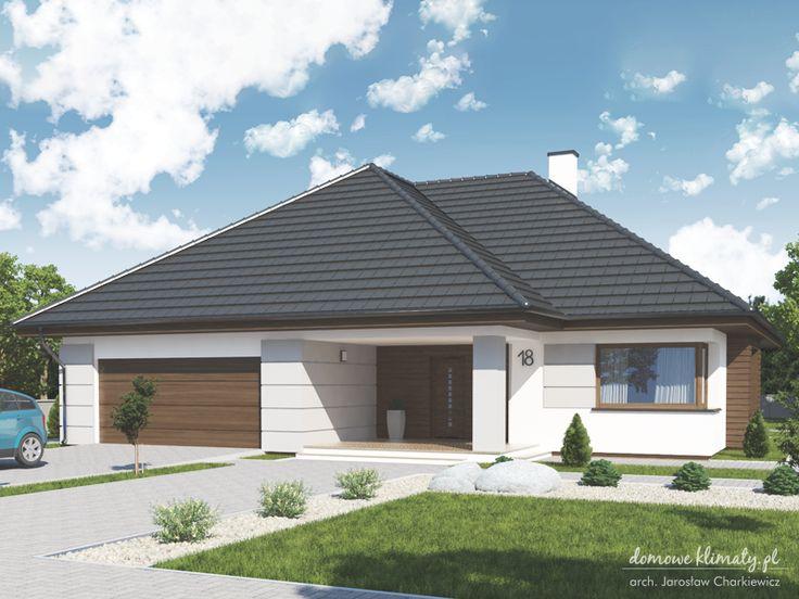 Projekt małego domu parterowego z dwustanowiskowym garażem. Ujmująco prosta bryła z charakterystycznymi podcieniami zapewni przyjemne doznania estetyczne swoim mieszkańcom.