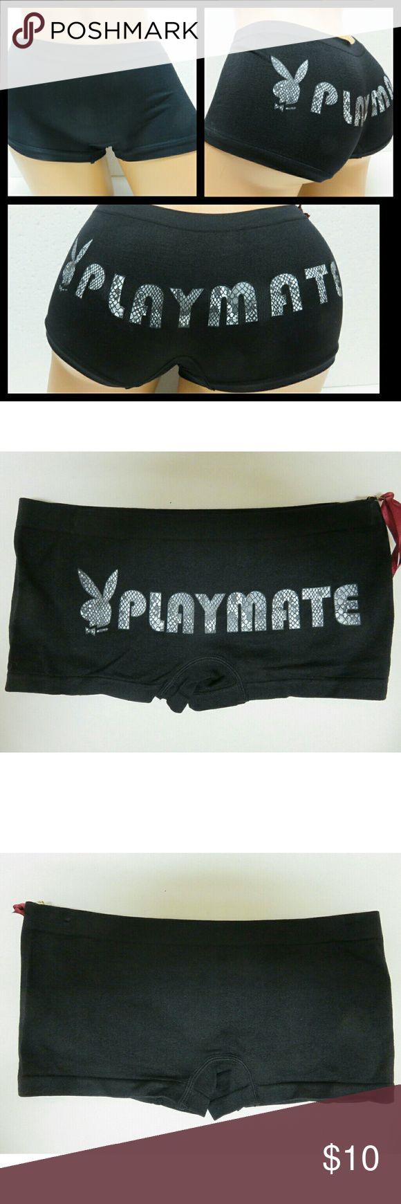 NWT Playboy Bunny Rabbit Playmate Boyshorts  Sz S LAST IN STOCK ........New stretch black, white n gray Playboy bunny boyshorts 90% nylon 10% spandex. Back has playmate in snake skin print. playboy  Intimates & Sleepwear Panties