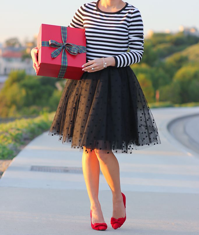 StylishPetite.com | Striped sweater, Black polka dot tulle skirt, red bow pumps - click on the photo for full outfit details!