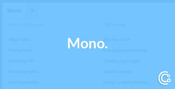 Mono - Responsive Bootstrap Fixed Mega Navbar . It is a mega / normal bootstrap 3 fixed navbar. It has creative styles. the main purpose of the creation of the menu is for blog web sites.