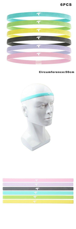 "Multicolor Headband, Non-slip Sport Sweatband, Running Head Sweat Band (6 Pack 9.8"")"