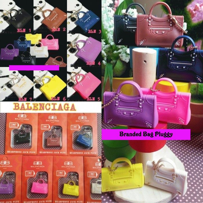 Koleksi Jewelry Pluggy (Min 2 Pcs) :  Kode : AWS-191, Nama : Branded Bags Pluggy Gantungan HP, Price : IDR 22.5, Model : Balenciaga (BLN 1-7)