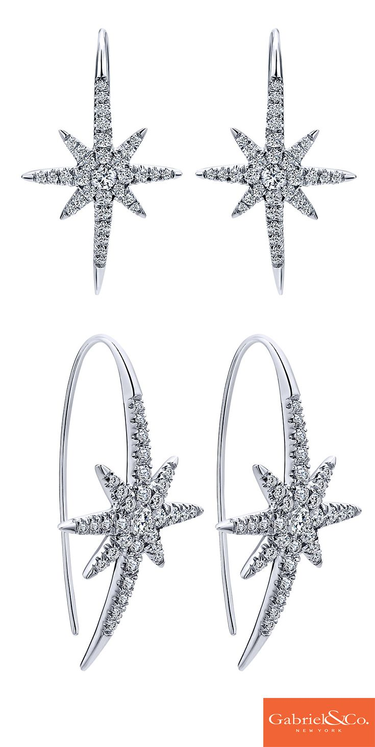 Absolutely gorgeous 14k White Gold Diamond Drop Earrings by Gabriel & Co.! These stunning trendy earrings are the perfect accessory for the upcoming winter holidays this year. Whether they are meant for an everyday wear or a holiday party, they are absolutely perfect.
