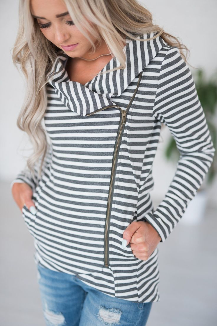 Reese Striped Zip-Up