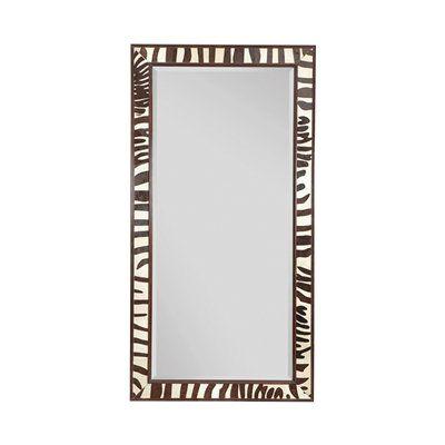 Ebony and Zebra Leather Inlay Full Length Mirror  81'' H x 43'' W x 2'' D